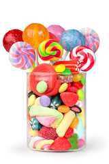 Canvas Prints Candy glass jar full of candy and lollipops