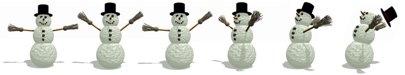 an illustrated border of snowman in different poses on white background