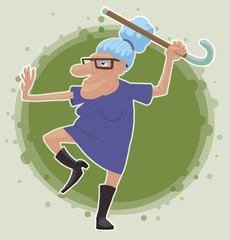 Vector cartoon image of an old woman with light blue hair wearing glasses, dressed in a purple dress and black boots standing in the pose of kung fu with a cane on a light green background.