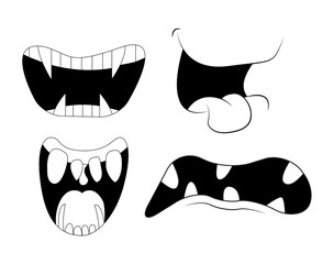 Cartoon smile, mouth, with teeth set.  vector silhouette, outline illustration isolated on white background