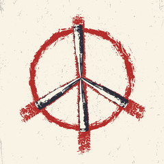 Grunge Peace sign with bullets and blood, vector illustration
