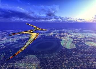 Huge pterodactyl over land