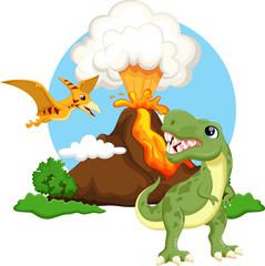 Cute tyrannosaurus and pterodactyl cartoon with volcano background