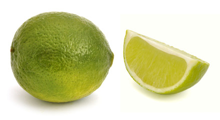 Lime and one segment of a lime
