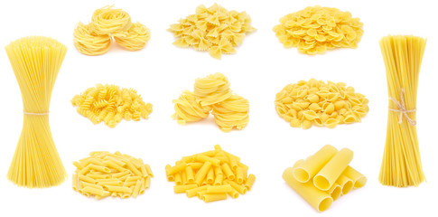 Pasta, different varieties, collection