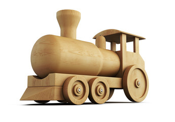 Wooden locomotive close-up. 3d.