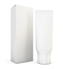 Blank tube for cream or toothpaste with box. 3d.