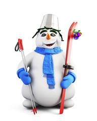 Snowman with skis and a bucket on his head