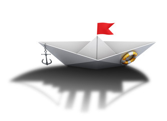 Paper boat with the shadow of a large ship. 3d.