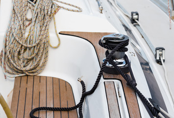 winch and rope on a sailing boat