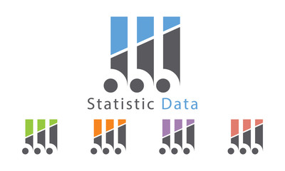 Statistic Data Icon With Five Color Options