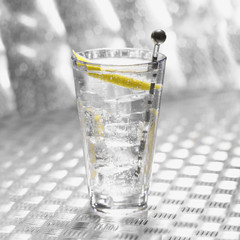 Glass of soda with ice and sliced fresh lemon