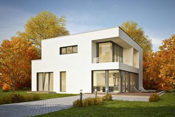 Moderne Villa im Herbst