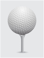 Golfball realistic vector. Image of single golf equipment on cone ball illustration isolated on grey background.