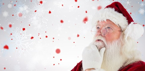 Composite image of santa is thinking about something