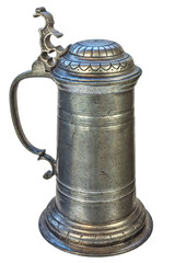 Genuine medieval tin beer jug