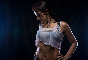Looking down wet young brunette