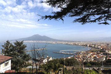 Naples panoramic view shot from Sorrento