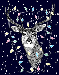 Deer with lights hand drawn illustration
