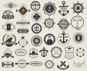 Logotypes set and Vintage Insignias. Vector design elements, log