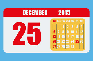 Stylish calendar with the date of Christmas