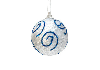 Christmas silver ball with blue