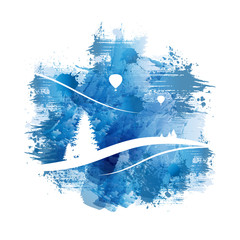 Berglandschaft mit Heißluftballons | Abstract Blue Watercolour Painting