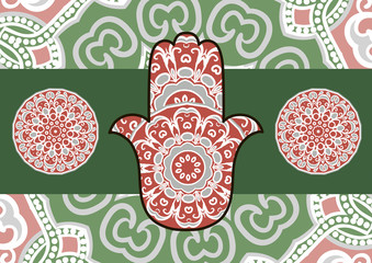 Card with a pattern in ethnic style - red and grey hamsa with mandala on background