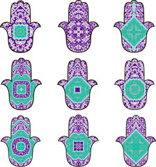 Set of nine hamsot in turquoise and purple colors on a white background