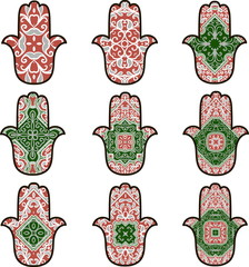 Set of nine hamsot in red and green colors on a white background