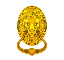 3D golden lion door knocker isolated on white background