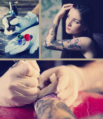 Collage of photos with tattoos