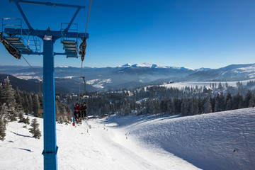 Lift in mountains ski resort in winter - nature and sport picture Image ID: 332751860