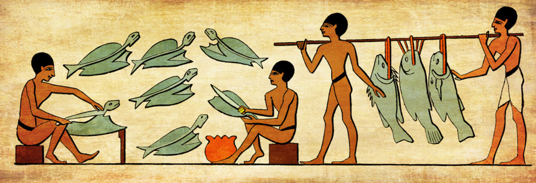 Ancient Egypt costumes and life, fishers clean fishes for food p