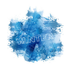 WINTER | Abstract Blue Watercolour Painting