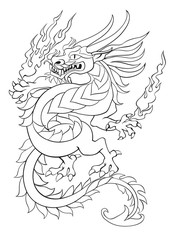 Dancing tribal dragon with flame in hands tattoo vector illustration