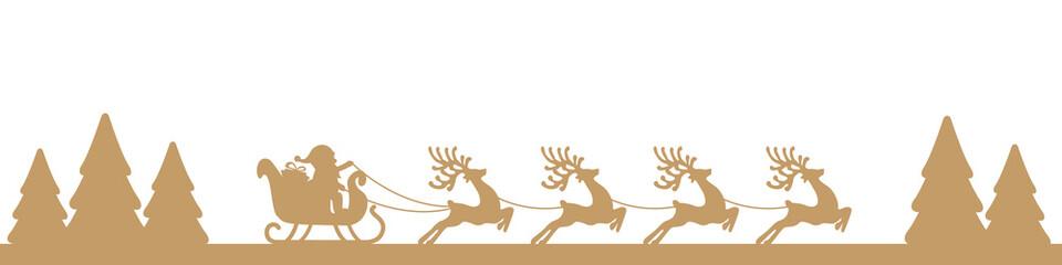 santa sleigh reindeer gold landscape silhouette