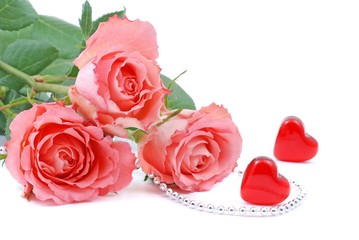 Roses and heart for valentines day.