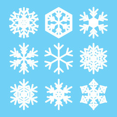 snowflakes for christmas - white vector design elements