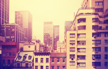 Vintage stylized picture of Manhattan, NYC, USA.