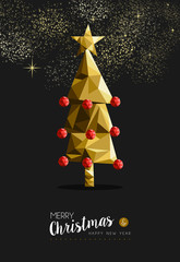 Merry christmas happy new year golden tree low poly