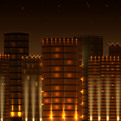 Golden night city with lights,vector
