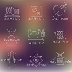 Set of sewing, tailoring or dressmaking icons on blurred background, line style vector. Tailor shop design elements .