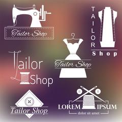 Set of tailoring labels, badges and emblems on blurred background. Sewing, dressmaking design elements vector.