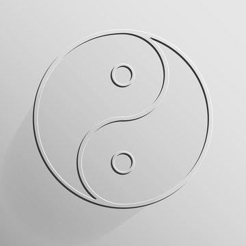 Yin Yang transparent on light grey background