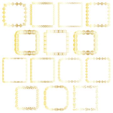 gold square frames