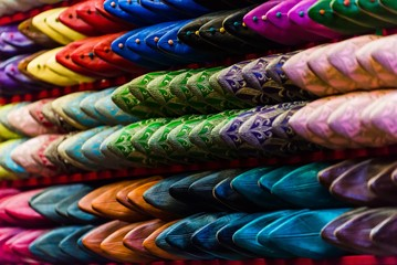 selective focus shot of traditional moroccan shoes