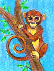 Обезьяна сидит на дереве. Детский рисунок.