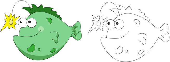 Funny and friendly cartoon fish angler. Coloring book