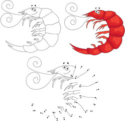 Cartoon smiling shrimp. Vector illustration. Dot to dot game for